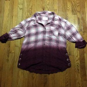 Girls plus size button-up long-sleeve shirt